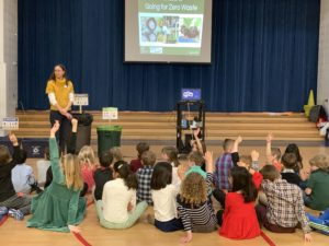 Susan Casey, Zero Waste Schools Program Mananger, teaches students the How and Why of going zero waste